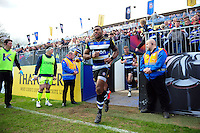 Semesa Rokoduguni and the rest of the Bath Rugby team run out onto the field. Aviva Premiership match, between Bath Rugby and Sale Sharks on April 23, 2016 at the Recreation Ground in Bath, England. Photo by: Patrick Khachfe / Onside Images