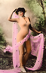 risque woman in a body stocking, circa 1910, Hand-tinted European realphoto postcard By Hero