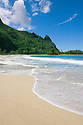 Tunnels Beach with Bali Hai peak (Mount Makena); Haena, Kauai, Hawaii.