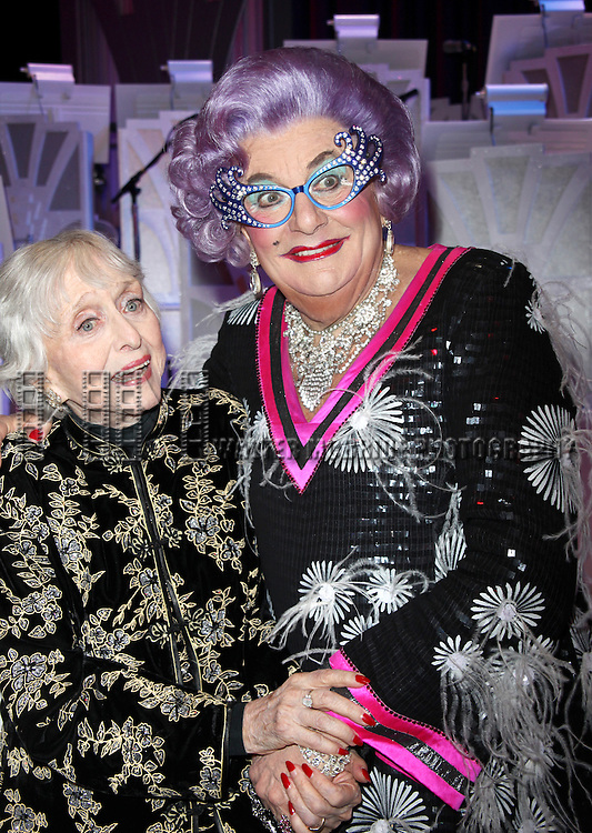 Dame Edna & Celeste Holm.backstage after  the Broadway Opening Finale & Night Curtain Call for ALL ABOUT ME at the Henry Miller Theatre in New York City..March 18, 2010.
