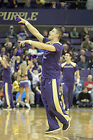 February 12, 2014:   UW Cheer member David Brazier entertained fans during the game between Washington's against Stanford.  Washington defeated Stanford 64-60 at Alaska Airlines Arena in Seattle, Washington.