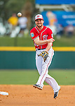 5 March 2016: Washington Nationals infielder Daniel Murphy makes a play in the 3rd inning during a Spring Training pre-season game against the Detroit Tigers at Space Coast Stadium in Viera, Florida. The Nationals defeated the Tigers 8-4 in Grapefruit League play. Mandatory Credit: Ed Wolfstein Photo *** RAW (NEF) Image File Available ***