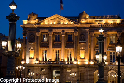 Hotel Crillon illuminated at Night, Paris, France