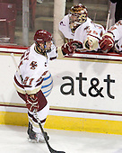 Steven Whitney (BC - 21) celebrates his first of two goals in the game. - The Boston College Eagles defeated the visiting Boston University Terriers 5-2 on Saturday, December 4, 2010, at Conte Forum in Chestnut Hill, Massachusetts.