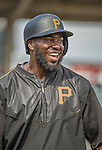 22 March 2015: Pittsburgh Pirates infielder Josh Harrison awaits his turn in the batting cage prior to a Spring Training game against the Houston Astros at Osceola County Stadium in Kissimmee, Florida. The Astros defeated the Pirates 14-2 in Grapefruit League play. Mandatory Credit: Ed Wolfstein Photo *** RAW (NEF) Image File Available ***