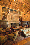 California, San Luis Obispo County: Hearst Castle State Park, formerly the palatial hillside home of publisher William Randoph Hearst.  Living Room..Photo caluis221-71271..Photo copyright Lee Foster, www.fostertravel.com, 510-549-2202, lee@fostertravel.com