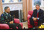 United States President-elect Bill Clinton meets General Colin Powell, Chairman, Joint Chiefs of Staff, at his hotel in Washington, D.C. on November 19, 1992..Credit: Jeff Markowitz / Pool via CNP