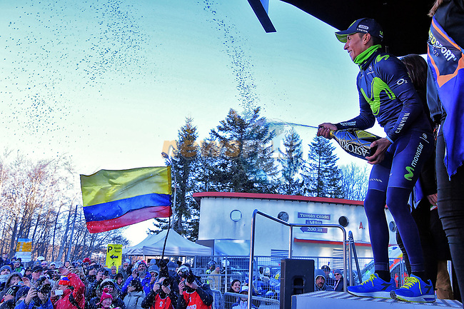 Nairo Quintana (COL) Movistar Team sprays the bubbly after winning Stage 4 of the 2017 Tirreno Adriatico running 187km from Montalto di Castro to Terminillo, Italy. 11th March 2017.<br /> Picture: La Presse/Gian Mattia D'Alberto  | Cyclefile<br /> <br /> <br /> All photos usage must carry mandatory copyright credit (&copy; Cyclefile | La Presse)