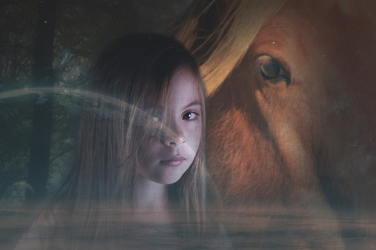 young child with a horse in a fantasy image