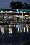 BP Gas Station, Wakefield, Virginia during summer rain at dusk. Route 460 South of the James.