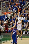 31 MAR 2012:  Anthony Davis (23) of the University of Kentucky shoots over Jeff Withey (5) of the University of Kansas in the championship game of the 2012 NCAA Men's Division I Basketball Championship Final Four held at the Mercedes-Benz Superdome hosted by Tulane University in New Orleans, LA. Kentucky defeated Kansas 67-59 to win the national title. Brett Wilhelm/NCAA Photos