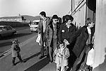 Catholic families visit relatives imprisoned in the Crumlin Road prison jail Belfast 1983.