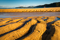 Sand patterns on golden beach in Totaranui at setting sun, Abel Tasman National Park, Nelson Region, New Zealand