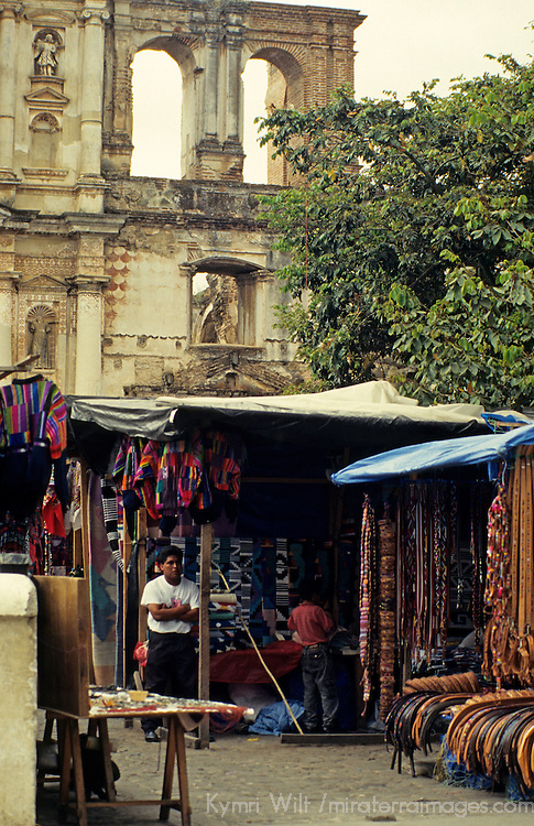 Central America, Guatemala, Antigua. A quiet day for the street market vendors in Antigua, Guatemala.