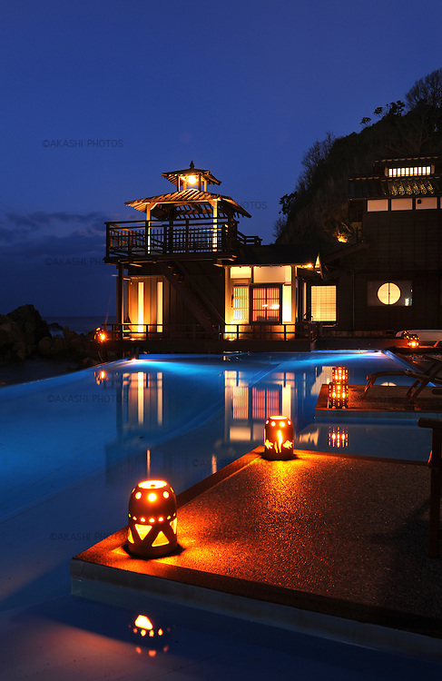 Swimming pool in the Lamp no Yado, luxurious Japanese ryokan, located on the tip of Noto Peninsula.