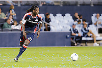 Shalrie Joseph (21) New England midfielder in action... Sporting Kansas City defeated New England Revolution 3-0 at LIVESTRONG Sporting Park, Kansas City, Kansas.
