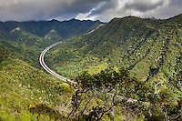 An aerial view of the H-3 Highway (or John A. Burns Freeway) and the Ko'olau Range, as seen from a scenic lookout on the 'Aiea Loop Trail in 'Aiea, O'ahu.