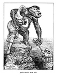 John Bull's War Aim. (Hitler as a Nazi gorilla has stolen 'Freedom' as she tries to break free while John Bull aims ready to fire, in a scene reminiscent of the film King Kong)