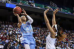 27 March 2015: North Carolina's Latifah Coleman (2) and South Carolina's Asia Dozier (31). The University of North Carolina Tar Heels played the University of South Carolina Gamecocks at the Greensboro Coliseum in Greensboro, North Carolina in a 2014-15 NCAA Division I Women's Basketball Tournament regional semifinal game. South Carolina won the game 67-65.