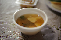 Miso soup with bamboo shoots, Yamaguchi farm, Otaki, Chiba prefecture, Japan, April 29, 2011.