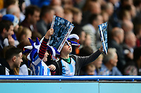 Two young Huddersfield Town fans cheer on their side<br /> <br /> Photographer Chris Vaughan/CameraSport<br /> <br /> The EFL Sky Bet Championship Play-Off Semi Final First Leg - Huddersfield Town v Sheffield Wednesday - Saturday 13th May 2017 - The John Smith's Stadium - Huddersfield<br /> <br /> World Copyright &copy; 2017 CameraSport. All rights reserved. 43 Linden Ave. Countesthorpe. Leicester. England. LE8 5PG - Tel: +44 (0) 116 277 4147 - admin@camerasport.com - www.camerasport.com