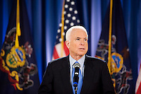 John McCain  holds a press conference at Villanova University before Hardball With Chris Mathews which was taped live on campus, Villanova, Pennsylvania, April 15, 2008.