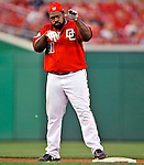 21 June 2008: Washington Nationals' first baseman Dmitri Young stands safely on second base after hitting a double in the 4th inning against the Texas Rangers at Nationals Park in Washington, DC. The Rangers defeated the Nationals 13-3 in the second game of their 3-game inter-league series...Mandatory Photo Credit: Ed Wolfstein Photo