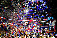 Balloons rain down after the Mitt Romney's acceptance speech during day four of the RNC at the Tampa Bay Times Forum in Tampa Thurs. Aug. 31, 2012.