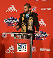 Toni Stahl of Connecticut speaks after being the  17th overall pick of  the MLS Superdraft by the Philadephia Union at the Pennsylvania Convention Center in Philadelphia, PA.