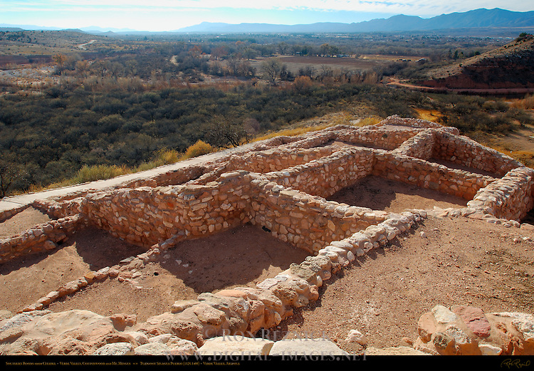 Southern Rooms from Citadel, Verde Valley, Cottonwood and Mt. Mingus, Tuzigoot Sinagua Pueblo, Tuzigoot National Monument, Verde Valley, Arizona