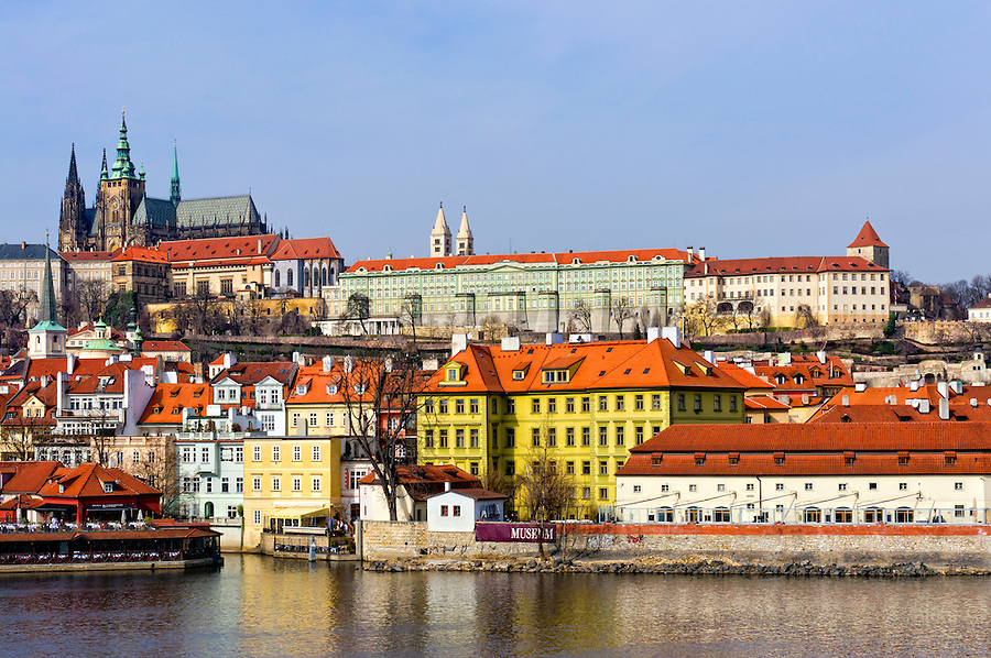View of the City of Prague and Vltava River. All logos removed.