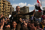 Protesters paraded an Army officer on their shoulders around Tahrir Square, Cairo, Egypt, Jan. 31, 2011. Demonstrations against the regime of Hosni Mubarak continued for a seventh day in the Arab World's most populous nation.