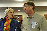 Feb. 25, 2013 - Mineola, New York, U.S. -  SALLI PRISYON of North Woodmere, and PETER ROSENTHAL of Hewlett, are members of Southwest Nassau League of Woman Voters attending the Nassau County Legislature meeting about the controversial proposed Redistricting Map, which they are against. The legislature postponed the vote on the map shortly before 1 AM the morning of February 26, nearly 12 hours after the meeting started on 1:30 PM Feb. 25. Over 100 members of the public submitted Speakers Forms, and the meeting was so well attended that some visitors had to stand in the chambers or watch in other rooms of the legislative building.