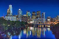 Schuylkill River, Buildings Lit, Dusk, Skyline, Reflections,  Night, Twilight, Philadelphia Pennsylvania, Phila. PA,