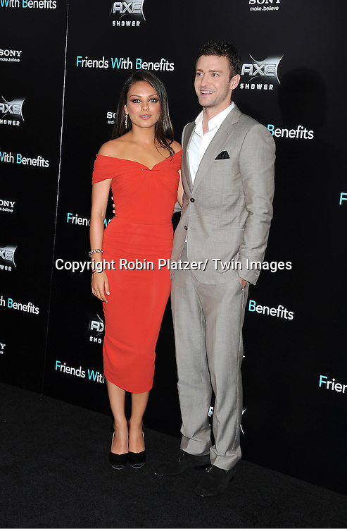 """Mila Kunis and Justin Timberlake attending the New York Premiere of """"Freinds With Benefits"""" on July 18, 2011 at The Ziegfeld Theatre in New York City. The movie stars Justin Timberlake, Mila Kunis, Emma Stone, Patricia Clarkson, Jenna Elfman and Bryan Greenberg."""