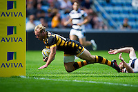 Dan Robson of Wasps dives for the try-line. Pre-season friendly match, between Wasps and Yorkshire Carnegie on August 21, 2016 at the Ricoh Arena in Coventry, England. Photo by: Patrick Khachfe / JMP