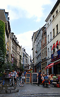 Rue de Rollebeek, a pedestrian street in Brussels, Belgium, runs from Grand Sablon to Rue Haute in the Marolles and is lined with restaurants.
