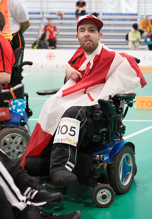 Toronto, ON - Aug 8 2015 -  Chris Halpen celebrates winning Brinze in Team BC1/BC2 - Round 3 in the Abilities Centre during the Toronto 2015 Parapan American Games  (Photo: Matthew Murnaghan/Canadian Paralympic Committee)