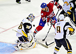 14 December 2009: Montreal Canadiens' center Glen Metropolit is stopped by Buffalo Sabres goaltender Ryan Miller during the first period at the Bell Centre in Montreal, Quebec, Canada. The Sabres defeated the Canadiens 4-3. Mandatory Credit: Ed Wolfstein Photo