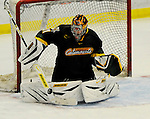 1 December 2007: University of Vermont Catamounts' goaltender Mike Spillane, a Sophomore from Bow, NH, in action against the Providence College Friars at Gutterson Fieldhouse in Burlington, Vermont. The Friars shut out the Catamounts 4-0 in front of a capacity crowd of 4003, for the 64th consecutive sell-out at Gutterson...Mandatory Photo Credit: Ed Wolfstein Photo