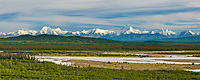 Panorama view of the Alaska range and the Tanana river, just south of Fairbanks, Alaska. Mountain peaks from right to left: Skarland, Geist, Hayes, Shand, Moffit, McGinnis<br /> .