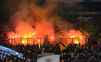 FUSSBALL   1. BUNDESLIGA   SAISON 2012/2013    25. SPIELTAG FC Schalke 04 - Borussia Dortmund                         09.03.2013 BVB Fans brennen in ihrem Fanblock Pyrotechnik ab