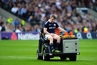 Mark Bennett of Scotland is driven off the field after suffering an injury. RBS Six Nations match between England and Scotland on March 11, 2017 at Twickenham Stadium in London, England. Photo by: Patrick Khachfe / Onside Images
