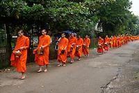 Luang Prabang Buddhist Monks in the morning
