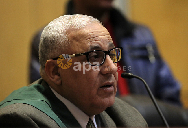 An Egyptian Judge attend the trial of Egyptian Muslim Brotherhood leader Mohammed Badie at a court in the outskirts of Cairo, Egypt, Dec. 07, 2015. Photo by Amr Sayed