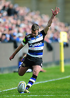 George Ford of Bath Rugby kicks for the posts. Aviva Premiership match, between Bath Rugby and Sale Sharks on April 23, 2016 at the Recreation Ground in Bath, England. Photo by: Patrick Khachfe / Onside Images