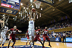 17 November 2013: Duke's Haley Peters (33) grabs a rebound. The Duke University Blue Devils played the University of Alabama Crimson Tide at Cameron Indoor Stadium in Durham, North Carolina in a 2013-14 NCAA Division I Women's Basketball game. Duke won the game 92-57.