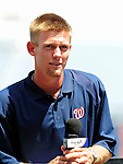 21 August 2009: Washington Nationals' first round draft pitcher Stephen Strasburg is introduced to the media during a televised event at Nationals Park in Washington, DC. The Nationals agreed to terms with Strasburg, the 2009 number one overall pick in this years' MLB Draft, with fewer than two minutes before the signing deadline. Mandatory Credit: Ed Wolfstein Photo
