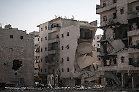 Destroyed buildings are seen in Al-Amiriyah battlefield due to heavy fighting between Free Syrian Army fighters and government forces in Aleppo, Syria.