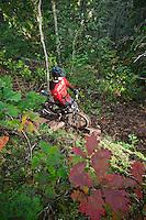 Lead mountain bike trail builder Aaron Rogers in Copper Harbor Michigan Michigan's Upper Peninsula.